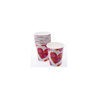 Hearts in Bloom Cups (8) Valentine's day written in pink