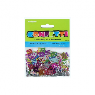 21st Metallic Multicolour Star Confetti