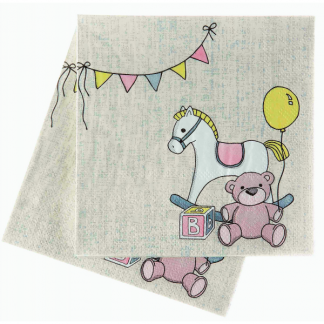 Rock-a-bye Baby Teddy Beverage Napkins (20)