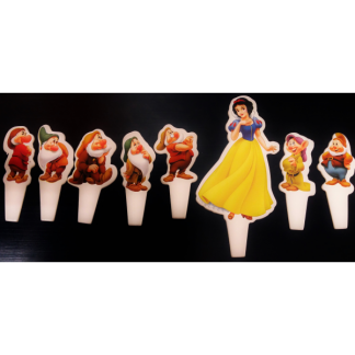 Tiny Snow White & the 7 Dwarf's Cardboard Cake Toppers (8)