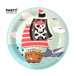Pirate Paper Plates Ship & Shark 9in (6)