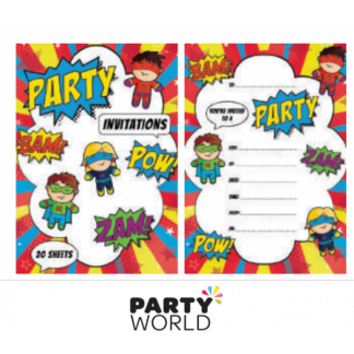 Superhero Comic Party Invitation Sheets (20)