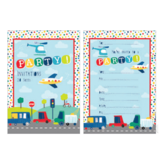 Transport Party Invitation Sheets (20)