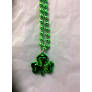 Shamrock Plastic Green Bead Necklace