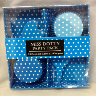 Blue Dotty Cupcake Cases and Toppers (24)