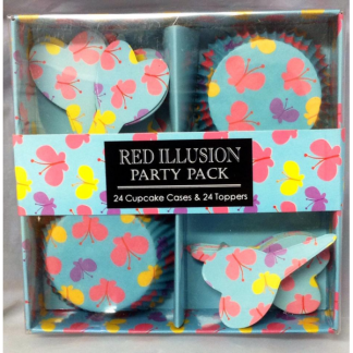 Red Illusion Butterflies Cupcakes Party Pack (24)
