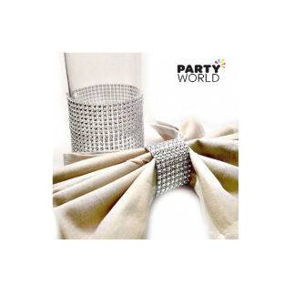Silver Diamante Effect Napkin Holders (50)