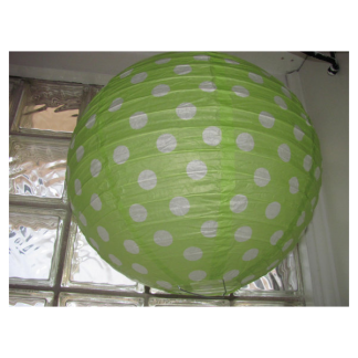 Green and White Polka Dot Paper Lantern 12in