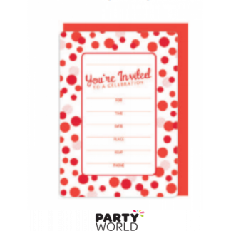 Invitations White and Red Dots with Envelopes (16)