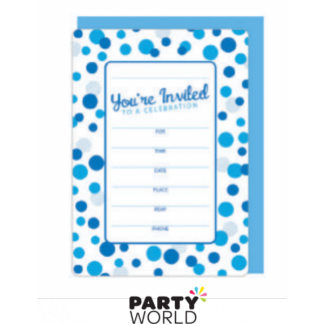 Invitations White and Blue Dots with envelopes (16)