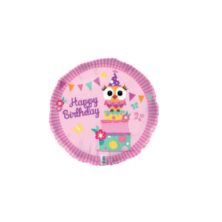 "Owl Happy Birthday Girl 18"" Foil Balloon"