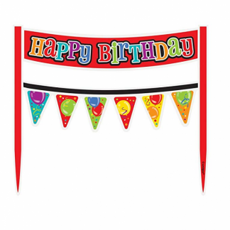 Happy Birthday Cake Banner - Balloons