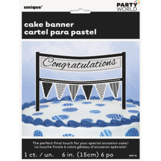 Congratulations Cake Banner - Black/Grey
