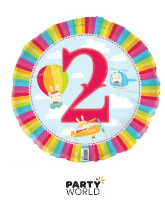 2nd birthday transport foil balloon