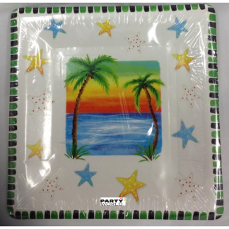 Palm Sunset Square Paper Plate (10)