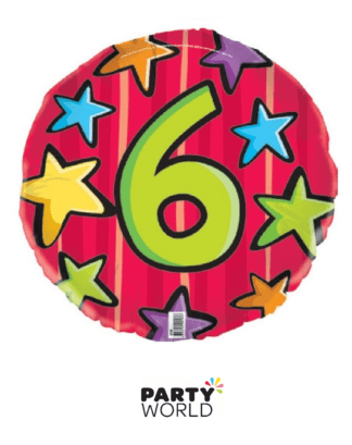 6th birthday helium foil balloon