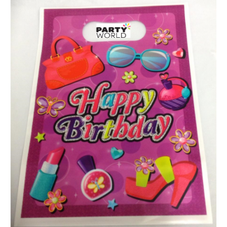 Girls Happy Birthday Plastic Loot Bags (10)