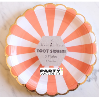 Meri Meri Toot Sweet Orange Stripe Side Plates (8)