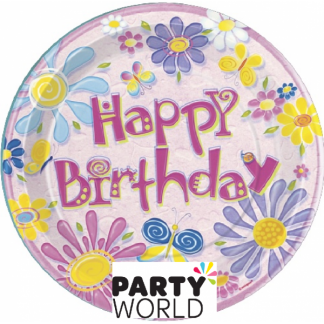 Birthday Flowers Paper Plates - 9 inch (8)
