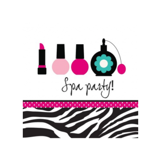Spa Party Pink Zebra Luncheon Napkins (16)