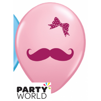 Girl Mustache and Bow Latex Balloons (5)