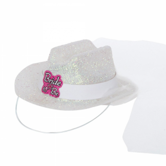 Mini Bride To Be Cowgirl Hat With Veil