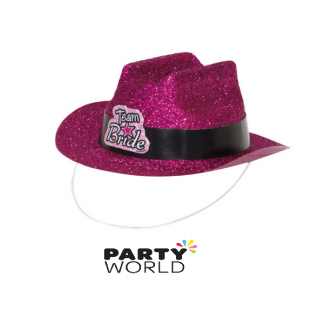 Mini Team Bride Hot Pink Glittery Cowgirl Hat