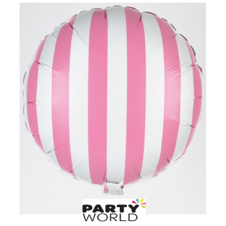 Light Pink and White Stripe Foil Balloon (18in)