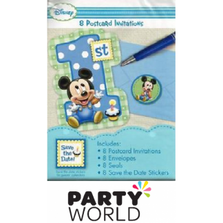 Mickey's 1st Birthday Postcard Invite Set (8)