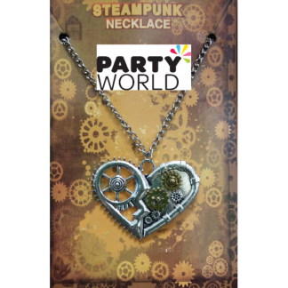 Steampunk Hollow Heart Gears Costume Necklace