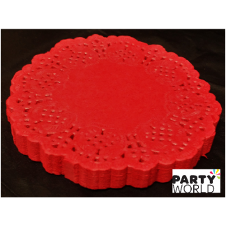Red Mini Paper Lace Doilies - 8.8cm (100)