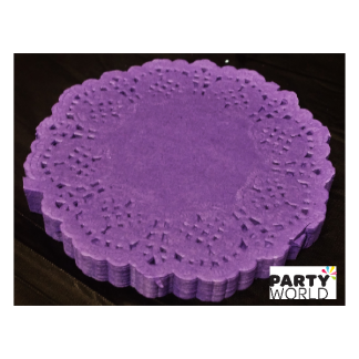 Purple Mini Paper Lace Doilies - 8.8cm (100)