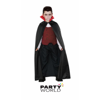 Black Vampire Cloak Costume with Red Collar