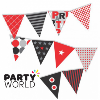 Red, Black & Grey Party Bunting 12metres long