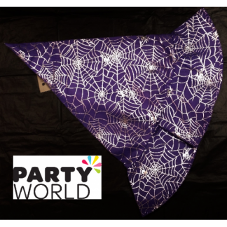 Witch Hat - Purple with Silver Spider Web Design