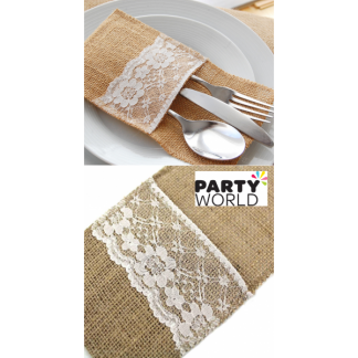 Hessian / Burlap With Lace Cutlery Sleeve - Single