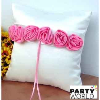 Wedding Ring Cushion White with Pink Flowers