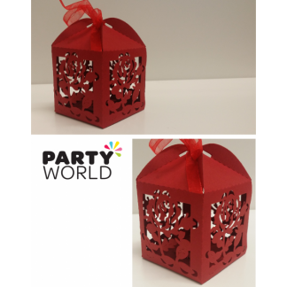 Rose Cage Favour Boxes (12) DEEP RED
