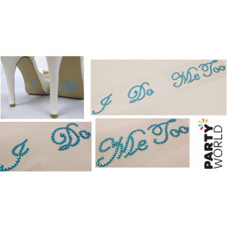 """I Do"" & ""Me Too"" Diamante Wedding Shoe Decals - Teal"