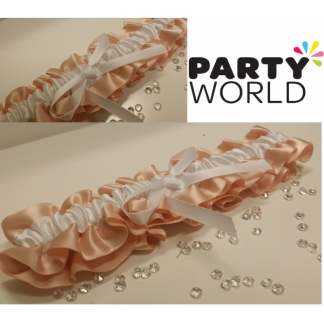 Peach Satin Bridal Garter