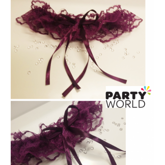 Purple Lace Bridal Garter - Plus Size