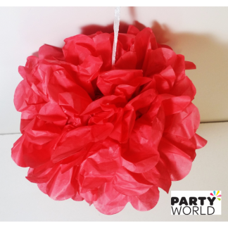 6in Puff Ball - Coral