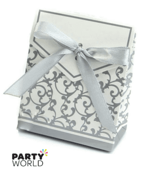 silver damask treat boxes