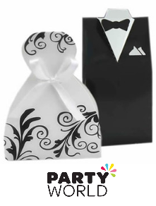 wedding boxes bride and groom dress and tuxedo