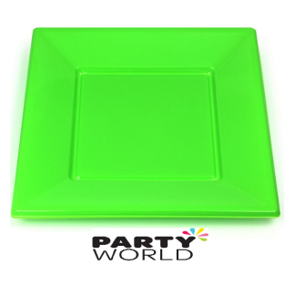Lime Green Square Plastic Plates 17.8 cm (8)