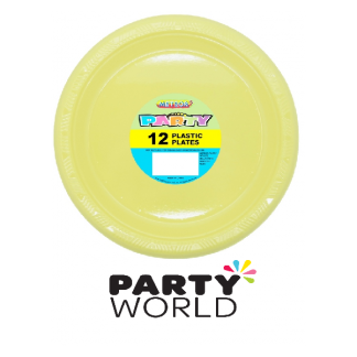 Soft Yellow Round Plastic Plates (12)