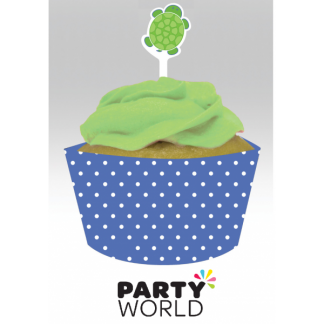 Mr. Turtle Cupcake Wraps & Toppers (12)