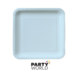 Powder Blue Square Paper Plates - 7inch (16)