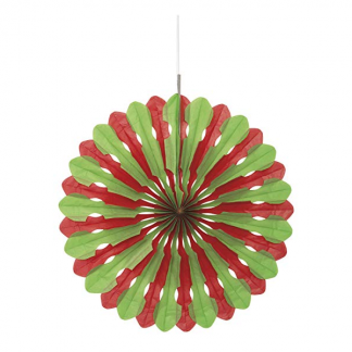 Red & Green Decorative Fan - 16inch