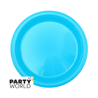 Caribbean Teal Plastic Plates - 9inch (25)
